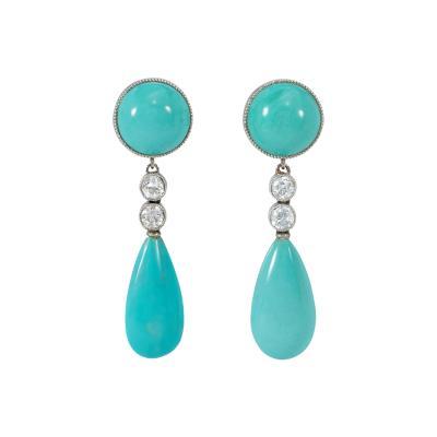 Art Deco Turquoise Diamond and Platinum Drop Earrings