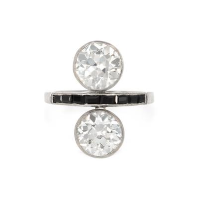 Art Deco Two Stone Diamond and Onyx Toi et Moi Ring in Platinum