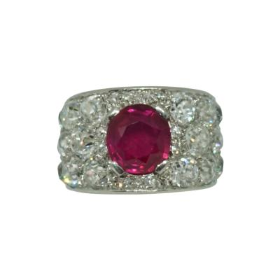 Art Deco Unheated Burma Ruby Diamond Ring