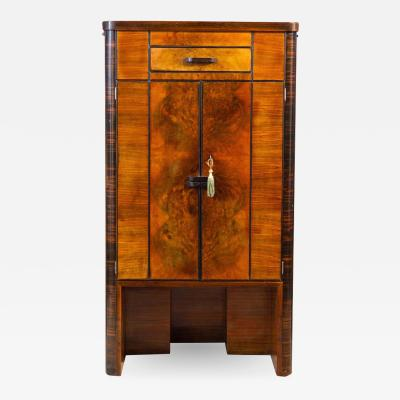 Art Deco Walnut Cocktail Dry Bar Cabinet Italy 1930s