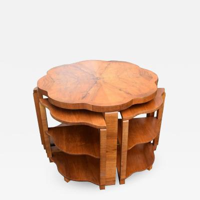 Art Deco Walnut Quintetto Nest Of Tables Circa 1930