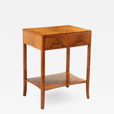 Art Deco Walnut Two Drawer Side Table c1930