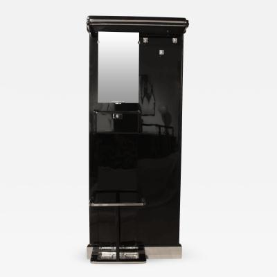 Art Deco Wardrobe Black Lacquer and Chrome France circa 1930