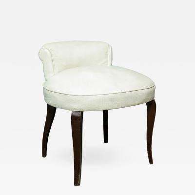 Art Deco White Leather Upholstered Vanity Stool