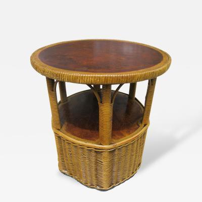 Art Deco Wicker End Table