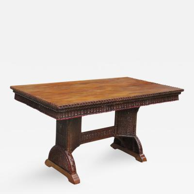 Art Deco Wicker Library Dining Table
