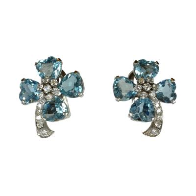 Art Deco aqua and diamond earrings