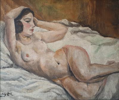Art Deco oil on canvas Reclining Nude by Jean Saint Paul 1897 1974