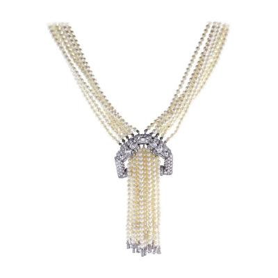 Art Deco pearl and Diamond Sautoir Necklace
