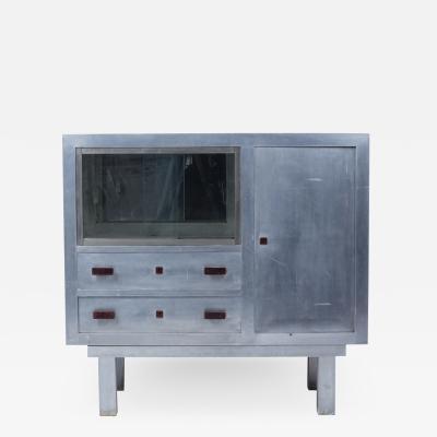 Art Deco period aluminum sideboard forming showcase