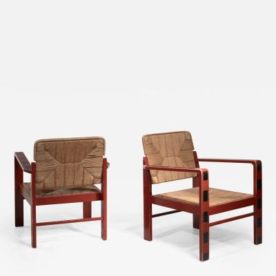 Art Deco set of two chairs with woven rope upholstery