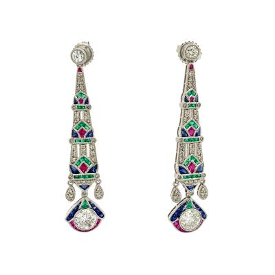 Art Deco style Egyptian Revival Diamond Earrings with Color Gemstone Accent