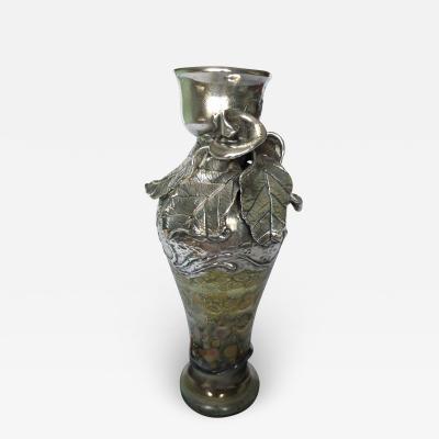 Art Glass Metal Bud Vase