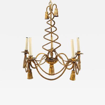 Art Moderne Rope and Tassel Gilt Metal Chandelier