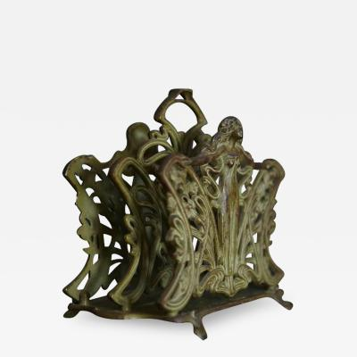Art Nouveau Cast Iron Letter Holder Depicting a Nude Woman
