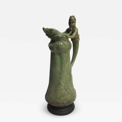 Art Nouveau Ceramic Merman Pitcher