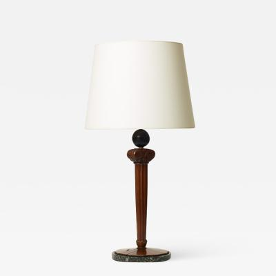 Art Nouveau Column Form Table Lamp in Mahogany by Johan Rohde