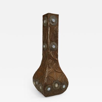 Art Nouveau Copper Veneered Square Shaped Vase