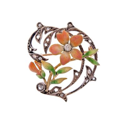 Art Nouveau Diamond Enamel Yellow Gold Silver Brooch