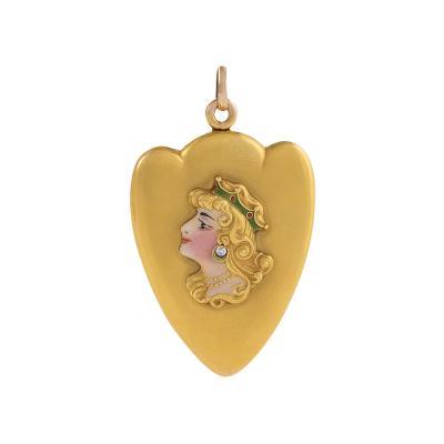 Art Nouveau Diamond Enamel and Gold Locket