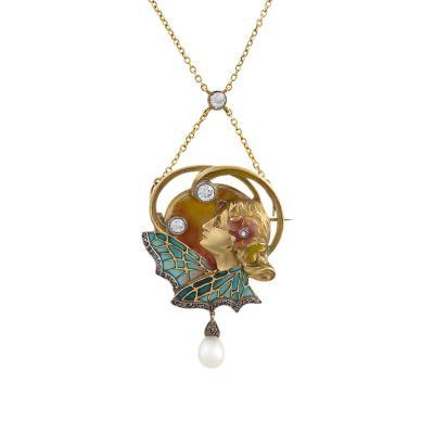 Art Nouveau Diamond and Plique a Jour Necklace