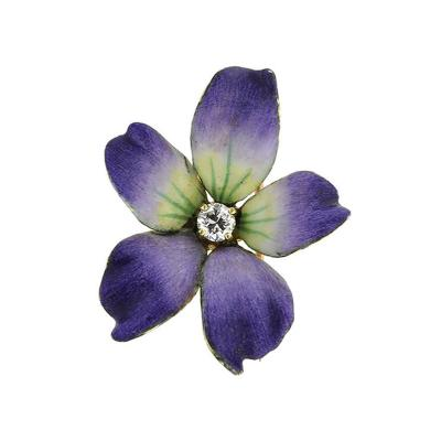 Art Nouveau Enamel and Diamond Wild Violet Brooch