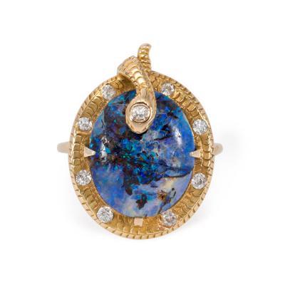 Art Nouveau Gold Boulder Opal and Diamond Snake Motif Ring
