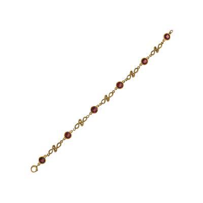 Art Nouveau Gold Bracelet with Citrines