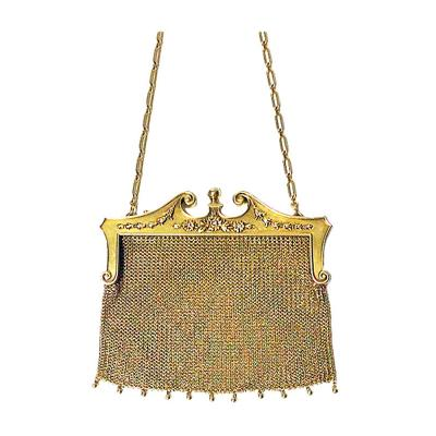 Art Nouveau Gold Diamond Pearl Purse Bag