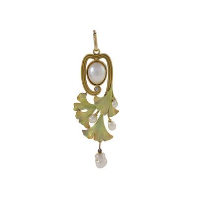 Art Nouveau Gold Enamel Pearl and Diamond Ginkgo Leaf Pendant