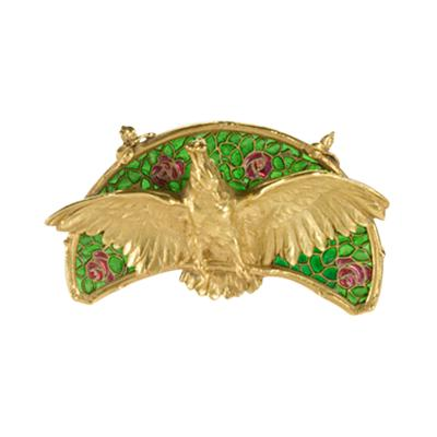 Art Nouveau Gold and Plique Jour Enamel Brooch