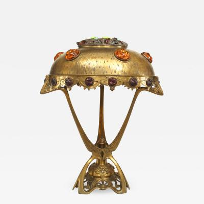 Art Nouveau Hungarian Jeweled Brass Table Lamp