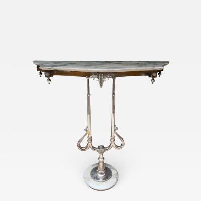 Art Nouveau Marble and Silver Console Table
