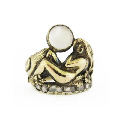 Art Nouveau Moonstone and Diamond Accents Silhouette Profile Ring