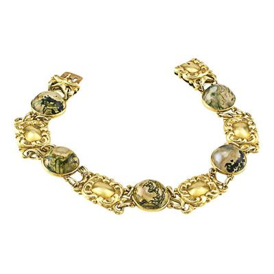 Art Nouveau Moss Agate and Gold Bracelet Circa 1905