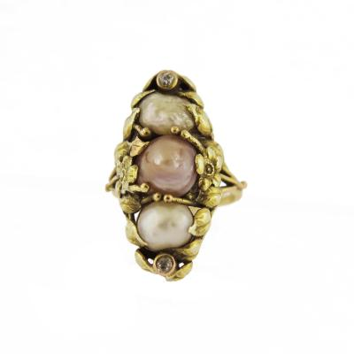Art Nouveau Natural Pearl and Diamond Accent Navette Ring