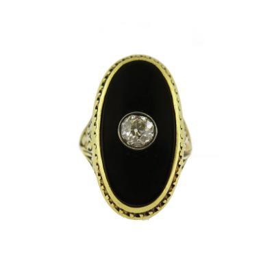 Art Nouveau Onyx and Diamond Oval Ring