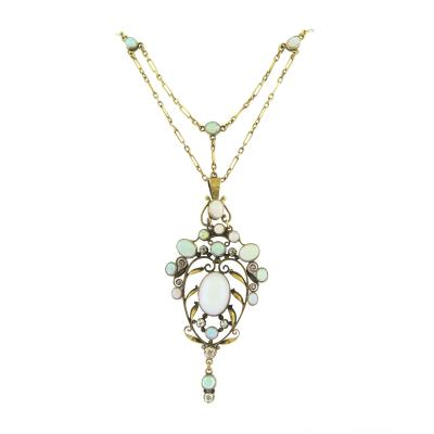 Art Nouveau Opal Gold Pendant Necklace