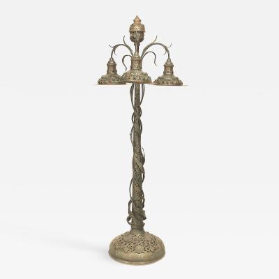 Art Nouveau Patinated Metal Jeweled Floor Lamp