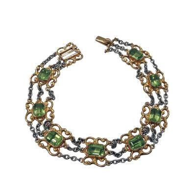 Art Nouveau Peridot Gold and Platinum Bracelet C 1910