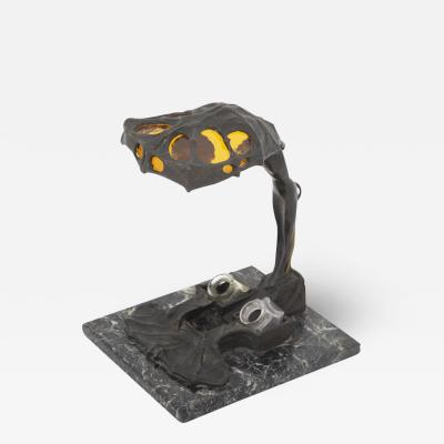 Art Nouveau Table Lamp in Bronze and Yellow Glass early 1900s