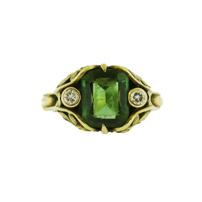 Art Nouveau Tourmaline and Diamond Ring