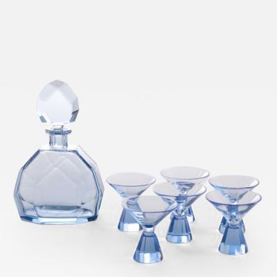 Art deco blue crystal cocktail set