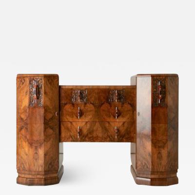Art deco figured walnut sideboard