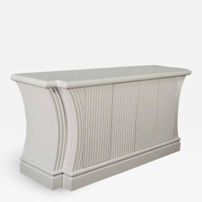 Art deco revival custom fluted off white oyster gray console cabinet buffet