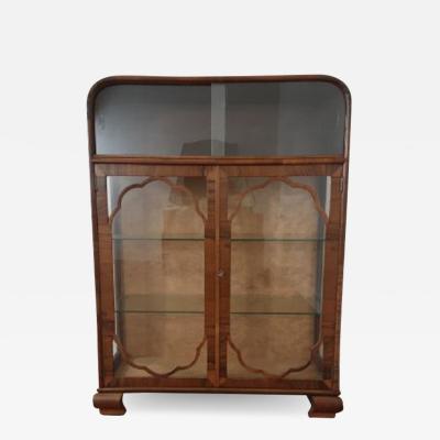 Art deco walnut display cabinet vitrine