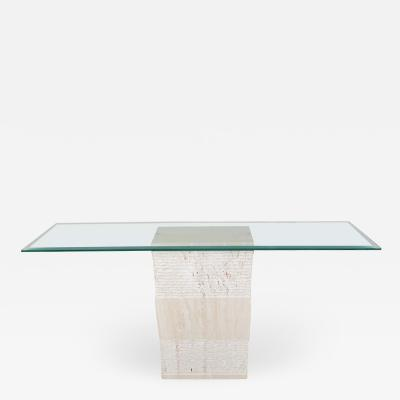 Artedi Contemporary Italian Travertine Marble Console Table after Artedi