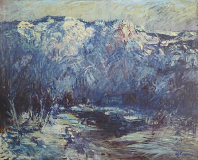 Arthur Clifton Goodwin Mountain Landscape with River