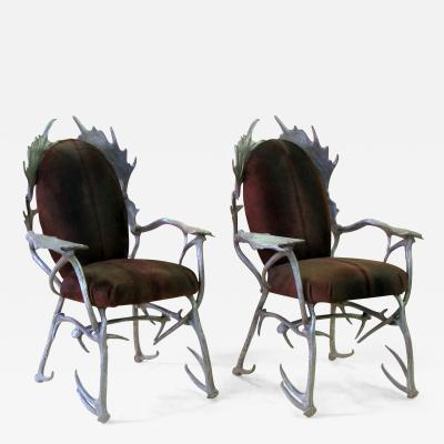 Arthur Court A Pair of American Aluminum Antler Arm Chairs by Arthur Court