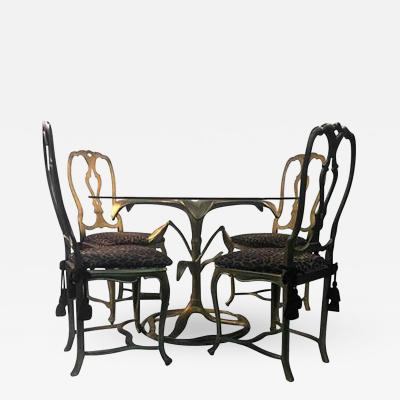 Arthur Court Great Arthur Court Gilded Tiger Lily Dining Table with Four Chairs